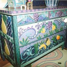 Hand painted dresser by Mary Wright of Wright Originals Whimsical Designs in Southern Pines, NC