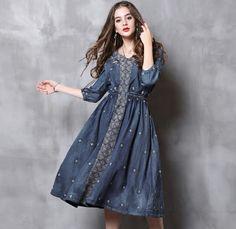 Denim Embroidery V-Neck Sleeve A-Line Dress Maxi Dress With Sleeves, Half Sleeves, Steps Dresses, Women's Dresses, Denim Dresses, Jeans, Floral Skater Dress, Batik Dress, Embroidery Dress