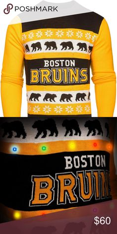 Mens Large Boston Bruins One Too Many Light Up Sweater