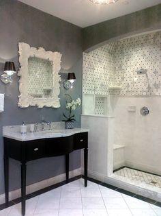 bathroom, white, grey and black.