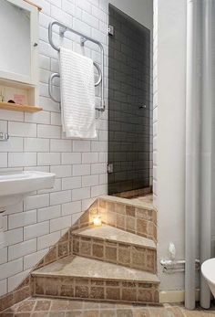 cute Apartment Design with Chic Interior Decor by Alvhem. Love the stairs in the bathroom, and the smart use of space