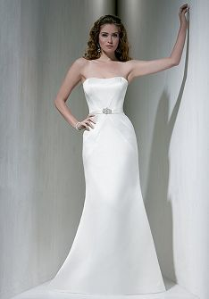 Trumpet Strapless Floor Length Attached Satin Wedding Dress Style WD62673 at Angelweddingdress