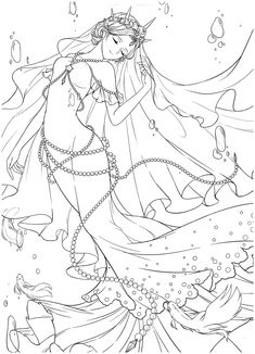 Mermaid Coloring Book, Adult Coloring Book Pages, Cute Coloring Pages, Coloring Books, Anime Sexy, Wedding Coloring Pages, Anime Lineart, Anime Mermaid, Unicorn Pictures