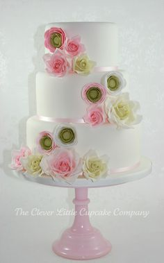 White & Pink Floral Wedding Cake