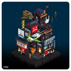 Totto Renna on Behance Cartoon Building, Building Art, Isometric Art, Isometric Design, Cyberpunk City, Cyberpunk Anime, Art Isométrique, Pixel Art Background, Cartoon House