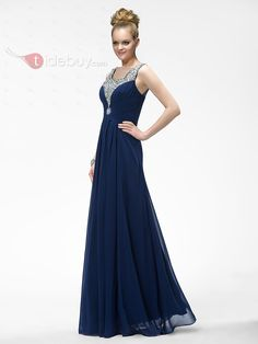 THIS COLOR WILL GO WITH WINTER WONDERLAND THEME...Glamorous Beadings Sequins Ruffles Floor-Length A-Line Evening Dress