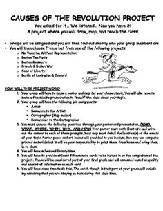 This is a thoroughly designed worksheet and a complete setup/design for a middle school United States Revolution unit project. By using this template you will engage your students not only in cooperative learning but also in key topics of the Revolution such as: The Boston Tea Party, The Boston Massacre, French & Indian War, Sons of Liberty, and The Battle of Lexington and Concord.