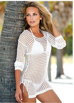 6fb01b174b Nets Hollow Out Sexy Beach Cover Up Dress Crochet Bathing Suits