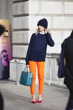 Love the orange pants. The hat, not so much.