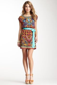 Cap Sleeve Belted Print Dress