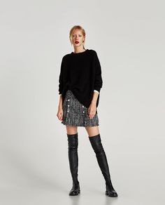 Image 1 of TWEED MINI SKIRT WITH SHIMMER from Zara