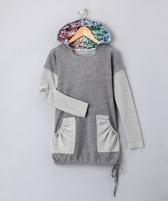 grey on grey with elastic patch pockets and contrast hood