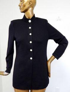 St-John-Basic-Black-Santana-Knit-Jacket-Blazer-Jeweled-Buttons-sz-8