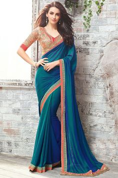 Look bold and fashionable wearing this stunning multicolor saree specially designed for fashion conscious women. Buy sarees online - http://www.aishwaryadesignstudio.com/peacock-blue-with-chiffon-jacquard-fabric