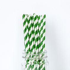 Emerald Green Striped Straws