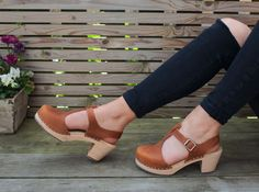 highwood t-bar brown oiled nubuck clogs by Lotta From Stockholm