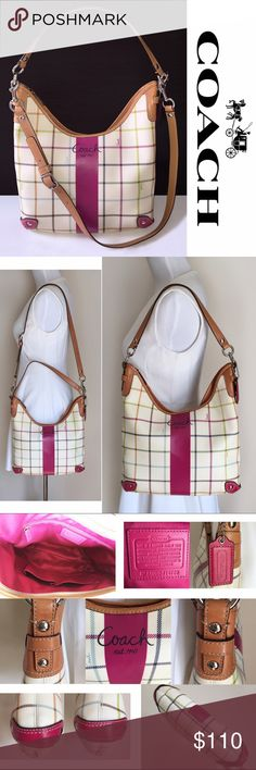 COACH Heritage Tattersall Convertible Hobo Handbag 100% Authentic COACH convertible hobo handbag (Heritage Tattersall F14789). Beautiful rare COACH handbag! The colorful tattersall pattern with intersecting lines and white leather makes this a fun addition to your summer wardrobe. Lined with satin pink fabric. Pristine clean inside. Long strap is detachable. Can be a crossbody bag. Great gently used pre-owned condition, though there is some minor discoloration on the back side and a few tiny…