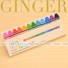 Wax-Crayon-Pen-Slim-180-pages-Sticker-Post-It-Bookmark-Mark-Sticky-Notes-AB03