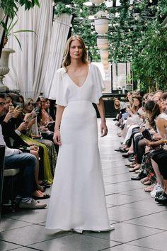 Sarah Seven simple flutter sleeve wedding dress