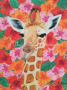 Print of original painting Animal painting Giraffe painting