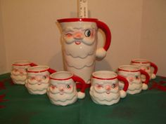 Vintage Holt Howard Christmas Near Mint Box Santa Claus Pitcher 6 Mugs Winking | eBay