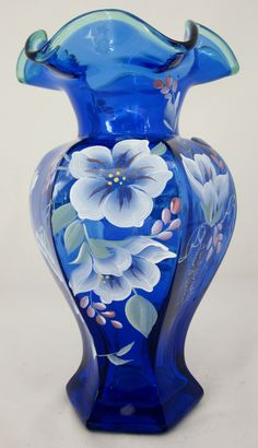 Fenton Cobalt Blue Vase Hand Painted Signed 75th Anniversary Hexagone Shaped |