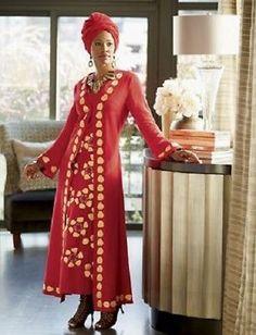 596fed8c0b3b Tadita Jacket Dress Ashro Red Ethnic African American Pride Red Gold Size 6  8 Caftan Dress