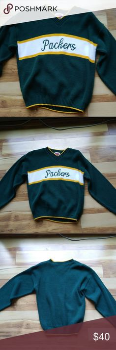 Rare Vintage Green Bay Packers Sweater Up for grabs is this awesome vintage Packers sweater thats in good used condition. I dont see any flaws but make sure to look at images. This is a kids xl but equates to a womens small or baggy xsmall. Vintage Sweaters
