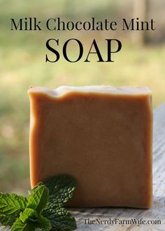Milk Chocolate Mint Soap Recipe 22 ounces olive oil (71%) 8 ounces coconut oil (26%) 1 ounce castor oil (3%) 12 ounces milk (cow, goat, almond, coconut, etc) 4.3 ounces of lye (6% superfat) 2 to 3 tablespoons peppermint essential oil 2 teaspoons cocoa powder