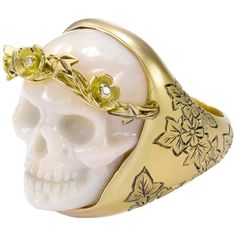 Theo Fennell Carved Coral Skull Diamond Gold Cocktail Ring | From a unique collection of vintage cocktail rings at https://www.1stdibs.com/jewelry/rings/cocktail-rings/
