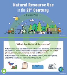 Teaching Resource: A 22 slide editable PowerPoint template to use when exploring how natural resources are used by humans in the century. Teaching Geography, Earth Surface, Natural Resources, 21st Century, Lesson Plans, Teaching Resources, Exploring, Environment, Classroom