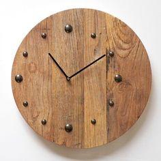 Wooden round clock. £70.99 http://www.worldstores.co.uk/p/Katigi_Reclaimed_Wooden_Round_Clock.htm
