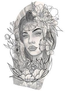 Head Tattoos, Portfolio, Outlines, Traditional Tattoo, Blackwork, Body Art, Medieval, Art Drawings, Snake