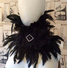 Hey, I found this really awesome Etsy listing at https://www.etsy.com/listing/218323294/black-coque-feather-and-lace-high-neck