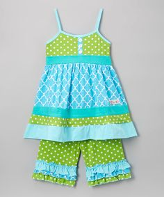 Look what I found on #zulily! Blue & Green A-Line Dress & Leggings - Infant, Toddler & Girls #zulilyfinds