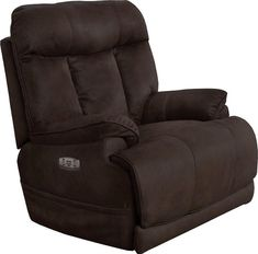 Catnapper Amos Collection 35 Inch Power Lay Flat Recliner with Power Headrest Lumbar, Extended Ottoman, Control Panel Technology, Comfort Coil Seating and Polyester Suede Fabric Upholstery in Dark Chocolate Color Recliner With Ottoman, Swivel Recliner, Coastal Furniture, Shabby Chic Furniture, Furniture Decor, Wall Hugger Recliners, Buy Chair, Chair Types, Power Recliners