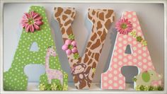 Jungle Jill. Safari Brights. Nursery wall Letters for Girl's Nursery or Bedroom. Flowers. Custom. Elephants. Giraffes. Pink. Flowers.