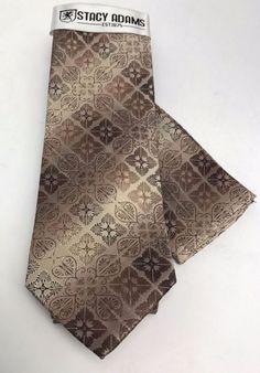 Stacy Adams Tie & Hanky Set Brown & Khaki for Men Microfiber #StacyAdams #TieHankySet