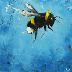 painting of bee in flight...