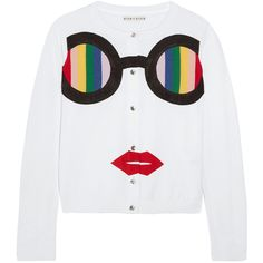 Alice + Olivia Ruthy Rainbow Staceface appliquéd cotton-blend cardigan (£300) ❤ liked on Polyvore featuring tops, cardigans, white, stripe top, rainbow cardigan, multi color cardigan, multi colored cardigan and colorful striped cardigan