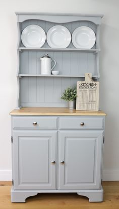 ** SOLD ** - Light Grey Ducal Welsh Dresser - Vintage - Solid Pine - Country - Farmhouse - Hand Painted - Little Greene - Urbane Grey Grey Painted Furniture, Pine Furniture, Upcycled Furniture, Kitchen Furniture, Furniture Makeover, Furniture Outlet, Furniture Ideas, Hutch Makeover, Furniture Vanity