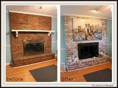 | I Painted My Brick Fireplace And It Looks Great!Ever since I bought my house, I've been wondering  what to do with this fireplace. I have never had a fireplace in my home before now.  (I really don't even know how to use it.) But, I do know it takes up a lot of space in my little living room. So, I want it to look nice.  | http://www.chicantique.org