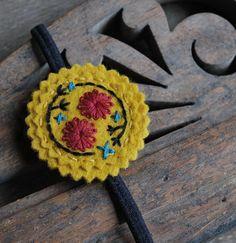 Hand Embroidered Headband Wool Felt in Mustard Yellow by lovemaude