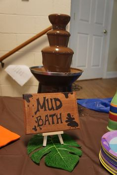 "A mud bath chocolate fountain! Jungle, Safari, Animals / Baby Shower/Sip & See ""The Newest King of the Jungle - Jake! Lion King Baby Shower, Baby Shower Niño, Shower Bebe, Shower Party, Baby Shower Parties, Jungle Baby Showers, Animal Theme Baby Shower, Jungle Theme Baby Shower, Safari Baby Shower Cake"