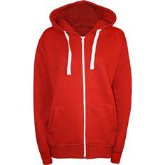 Samantha Plain Zip Hoodie ($23) ❤ liked on Polyvore featuring tops, hoodies, red, red zipper hoodie, red zip hoodie, zip hooded sweatshirt, long hooded sweatshirt and zip hoodie