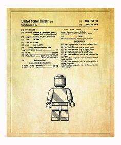 Lego Patent Art Print - boy bedroom wall décor.