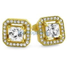 Gold Princess Ice Island Micro Pave Iced Out Earrings Custom Gold Micro Pave Earrings