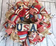 Patriotic Deco Mesh Wreath, 4th of July Deco Mesh Wreath, Memorial Day Deco Mesh… - Etsy $110