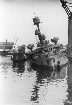 Danish ships scuttled in Holmen harbour, Copenhagen.