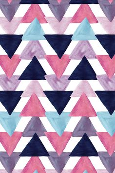 blue lagoon watercolor triangles by ivieclothco - Mauve, teal, lavender, and navy blue watercolor triangles on fabric, wallpaper, and gift wrap.  Beautiful hand painted watercolor geometric pattern.
